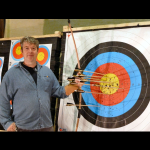 Ivor with the longbow and arrows he made himself.